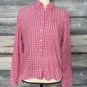 Hollister 🍍Gingham Pink White Checker Button Down